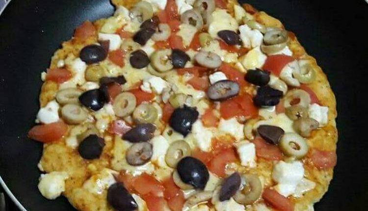 طريقة عمل بيتزا الطاسة بالمشروم للدايت صحية