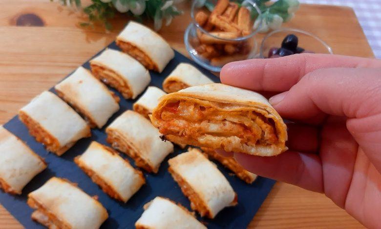 رولات البيتزا بخبز التورتيلا