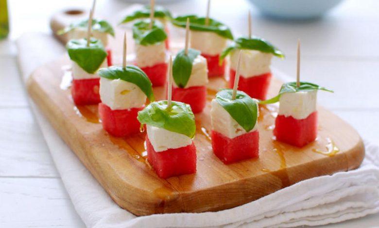 سلطة البطيخ مع الجبن الأبيض دايت